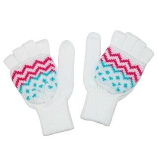 Aquarius Girls' Aztec Print Glove and Mitten - White