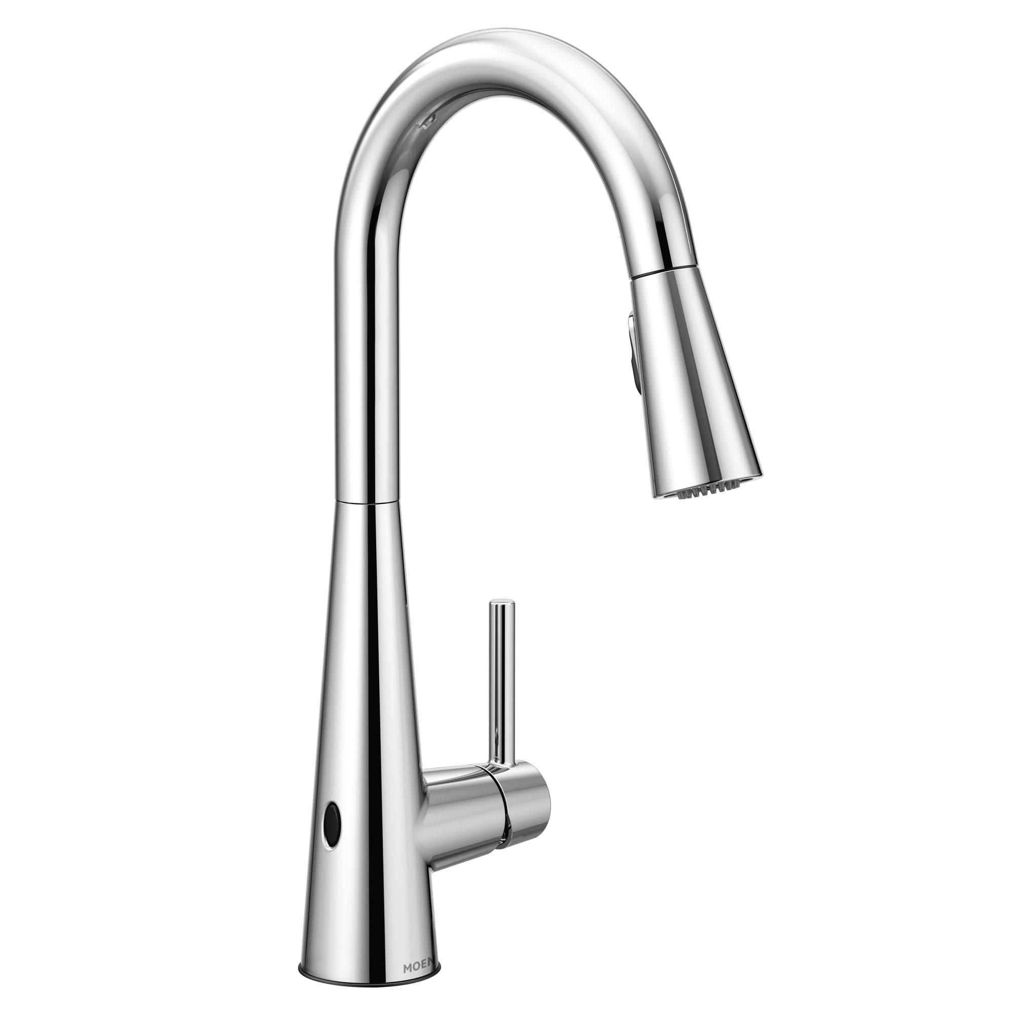 Moen 7864EW Sleek 1.5 GPM Pull Down High Arc Kitchen Faucet With  MotionSense, Power