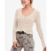 Free People White Ivory Womens Size Small S V-Neck Knitted Sweater