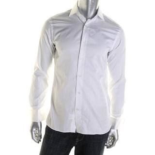 Hickey Freeman Mens Tab Collar Long Sleeves Button-Down Shirt