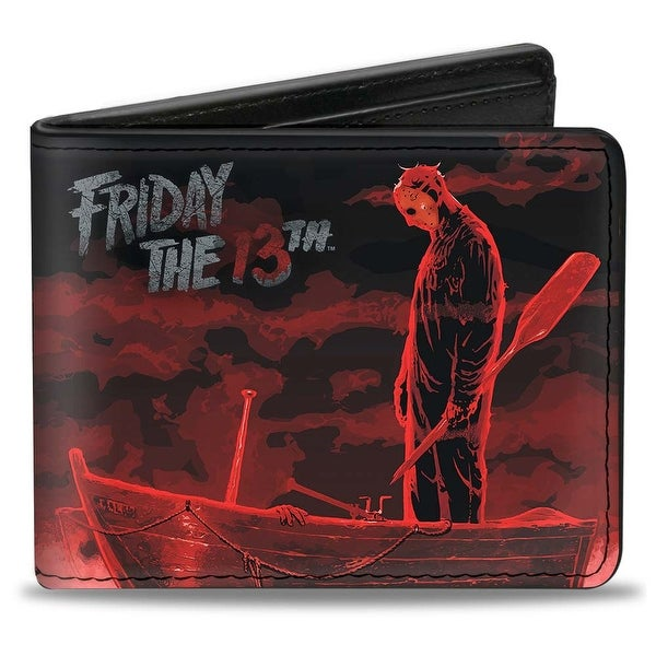 Friday The 13Th Jason Boat Murder Black Reds White Bi Fold Wallet - One Size Fits most