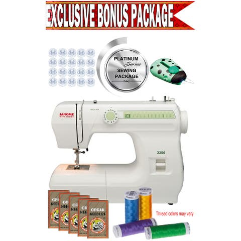 Janome New Home 2206 Sewing Machine w/ Exclusive Platinum Series Sewing Package!