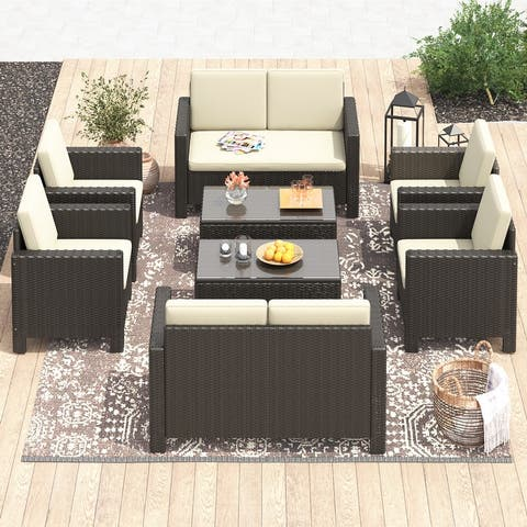 Corvus Azore 8-piece Outdoor Wicker Chat Set with Cushions