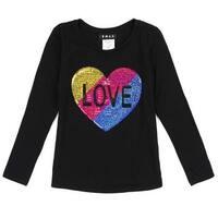 Little Girls Black Multi Glitter Heart Details Long Sleeved Trendy Top