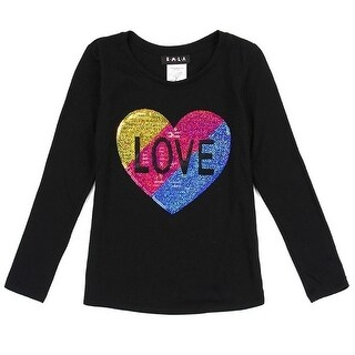 Little Girls Black Multi Glitter Heart Details Long Sleeved Trendy Top