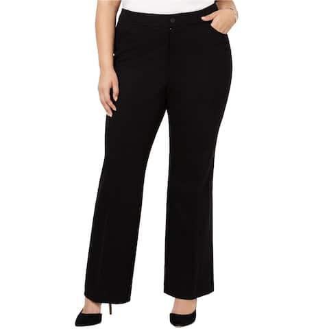 Anne Klein Womens Flare Casual Wide Leg Pants, Black, 14W