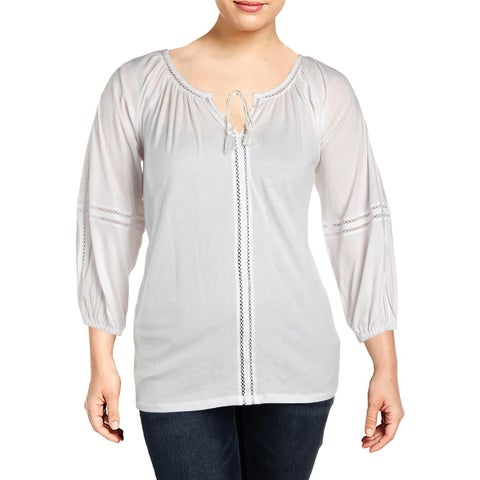 Lauren Ralph Lauren Womens Plus Peasant Top Tie Neck Long Sleeves