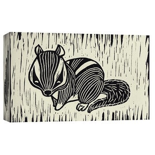 """PTM Images 9-103698  PTM Canvas Collection 8"""" x 10"""" - """"Chipmunk Linocut"""" Giclee Animals Art Print on Canvas"""