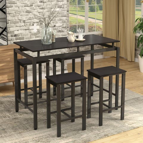 5 - piece set of simple modern black counter table for evening dining