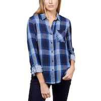 Lucky Brand Blue Womens Size Small S Plaid-Print Button Down Top