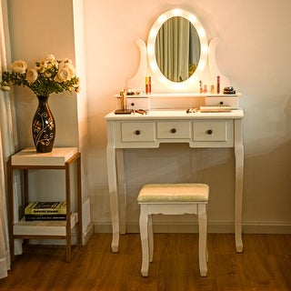 Gymax 5 Drawers Vanity Makeup Dressing Table Stool Set Lighted Mirror W/12 LED Bulbs
