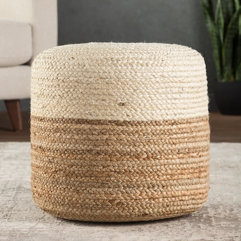 The Curated Nomad Camarillo Ombre Braided Jute Cylinder Pouf
