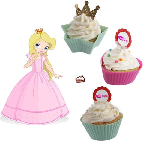 3 styles 7cm 12pcs Silicone Reusable Cupcake and Muffin Baking Cup Random Color