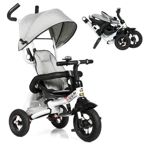 6-In-1 Kids Baby Stroller Tricycle Detachable Learning Toy Bike-Gray - Grey