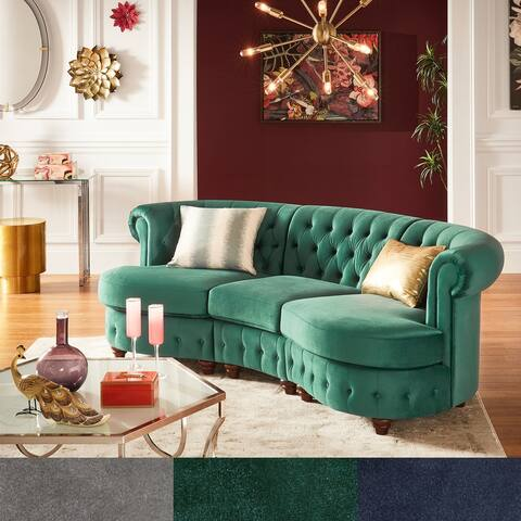 Morgan Velvet Tufted Scroll Arm Chesterfield Curved Sofa by iNSPIRE Q Bold