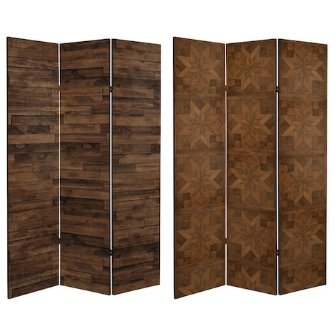 6 ft. Tall Double Sided Walnut Wood Pattern Canvas Room Divider