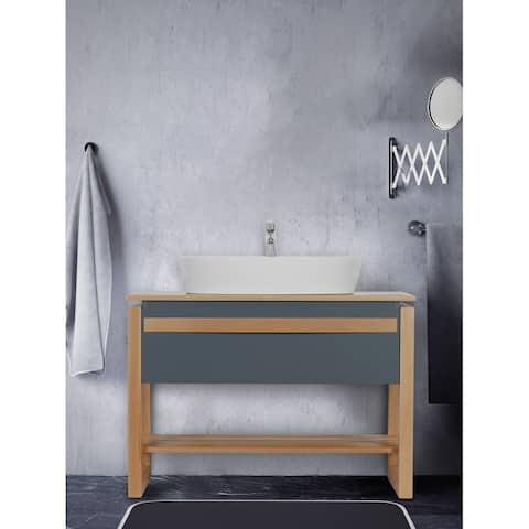 Giallo Rosso Bali 40 Inch Modern Freestanding Bathroom Vanity with Vessel Sink - No Mirror (Gray Oak)