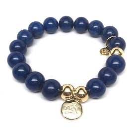 Blue Jade Om Charm stretch bracelet 14k over Sterling Silver