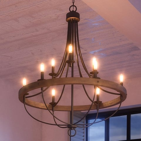 "Luxury Farmhouse Chandelier, 40.5""H x 35.25""W, with French Country Style, Charcoal , UHP2903 by Urban Ambiance"