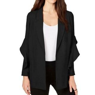 Alfani Women's Jacket Black Size Small S Flounce Sleeve Open Front