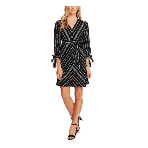 CECE Black 3/4 Sleeve Short Dress 12