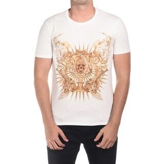 Just Cavalli Men Extravagant Death T-Shirt Cream