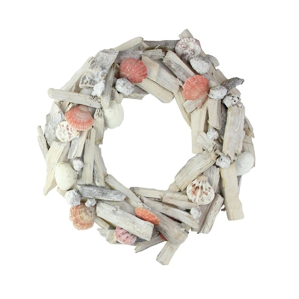 """12.5"""" Nautical Driftwood and Seashell Artificial Summer Wreath - brown"""