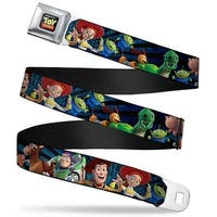 Toy Story Logo Full Color Black Toy Story Characters Running Denim Rays Seatbelt Belt