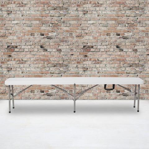 "11""W x 72""L Bi-Fold Granite White Folding Bench with Carrying Handle"