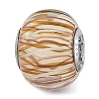 Sterling Silver Reflections Brown and White Striped Glass Bead (4.5mm Diameter Hole)