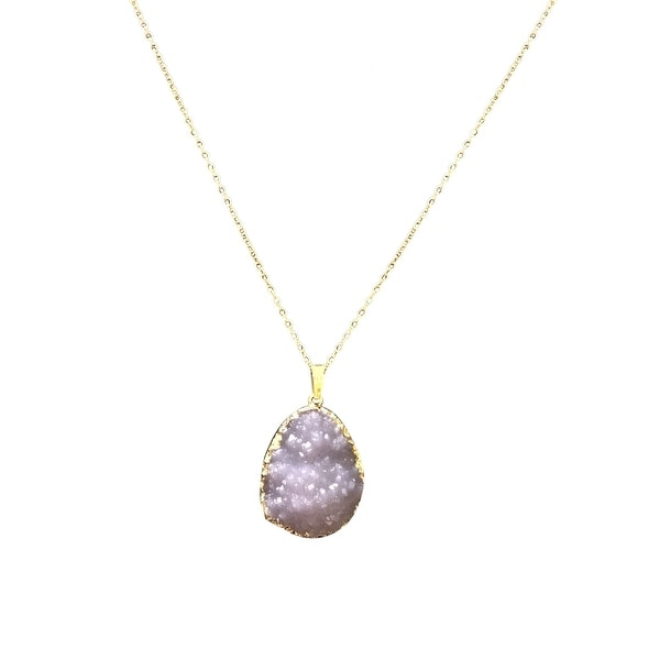 max & MO Rough Amythist Stone Look with Gold Foil Wrap Necklace - gold-purple