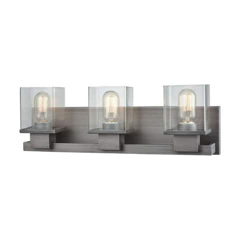 Contemporary Three Light Bath Vanity with Rectangular Back Plate Clear Glass Shades Exposed Bulb