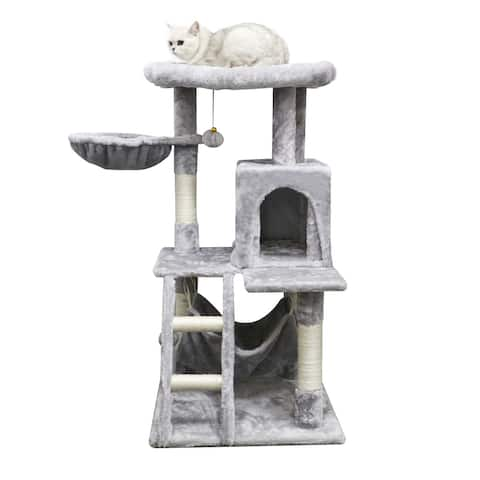 Multi-Level Cat Tree with Large Perch, Cat Activity Center with Hammock, Cat Climbing Stand with Toy