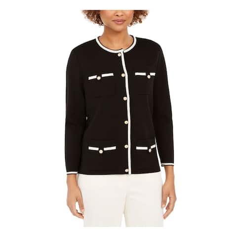 ANNE KLEIN Womens Black Long Sleeve Button Up Sweater Size XXS
