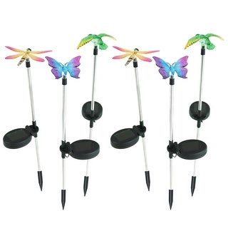 Sunnydaze Solar Powered Butterfly Dragonfly Hummingbird Stake LED Light Set of 6