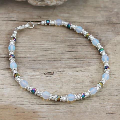 Bali Style Moonstone and Crystal Rainbow Vitrail Bracelet