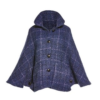 Branigan Weavers Women's Freida Capelet - Alpaca & Wool Indigo Blue Check Poncho - One size