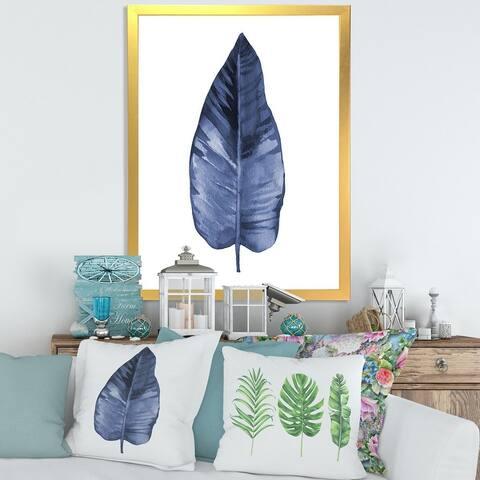 Designart 'Blue Leaf Watercolour on White' Traditional Framed Art Print