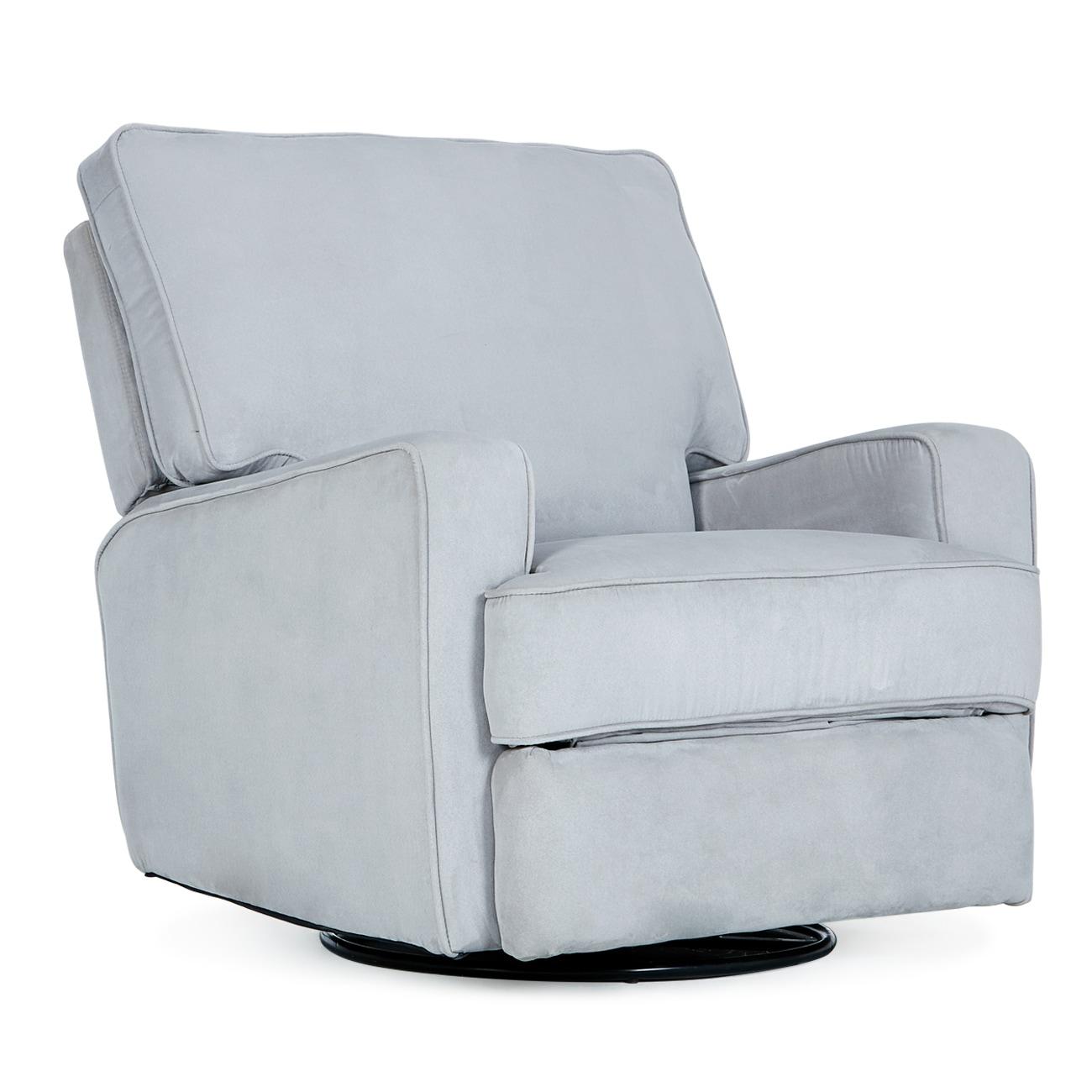 Belleze Swivel Glider Recliner Padded Backrest W Extra Cushion Linen Living Room Chair