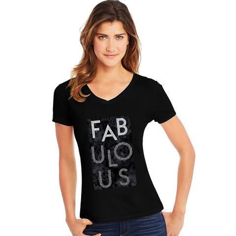 Hanes Women's Fabulous Short Sleeve V-Neck Tee - Size - 2XL - Color - Fabulous/Black