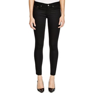 Triple 8 Womens Colored Skinny Jeans Button Zip Fly Solid Black 25
