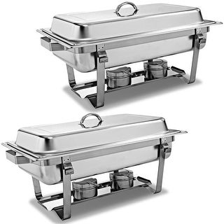 2 Packs Chafing Dish 9 Quart Stainless Steel Rectangular Chafer Full