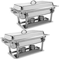 Costway 2 Pack of 8 Quart Stainless Steel Rectangular Chafing Dish Full Size - Sliver