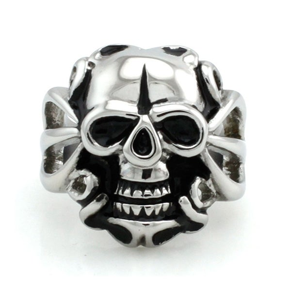 Shrieking Stainless Steel Biker Skull Ring
