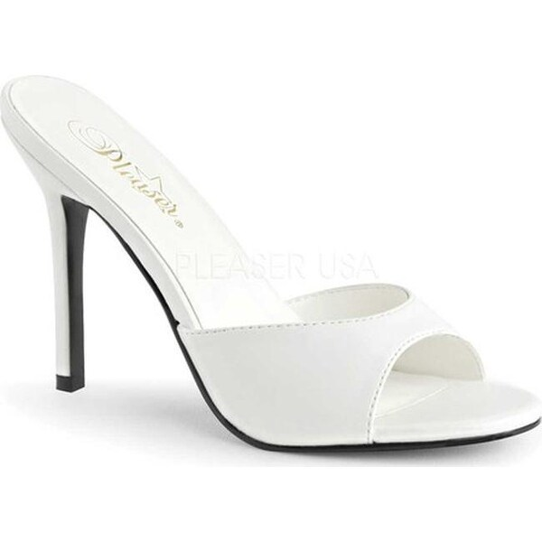 5feac77c9a71 Shop Pleaser Women's Classique 01 High Heel Slide White Kid PU - Free  Shipping On Orders Over $45 - Overstock - 14649875