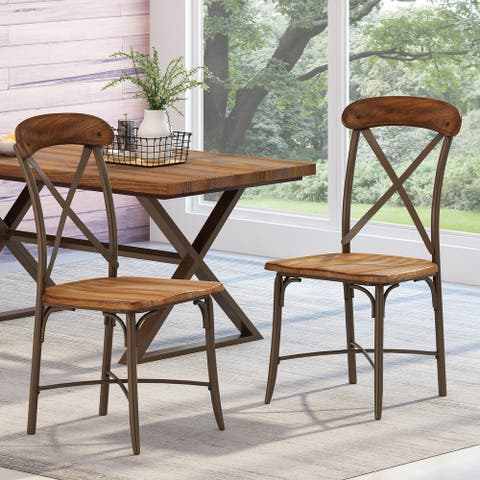 Stroble Farmhouse Crossback Dining Chairs (Set of 2) by Christopher Knight Home