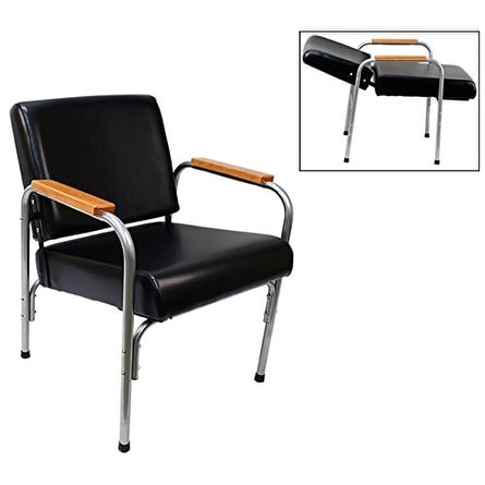 LCL Beauty Natural Oak Armrest Automatic Recline Shampoo Chair with Double-Reinforced Steel Frame