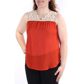 Womens Orange Sleeveless V Neck Casual Top Size L
