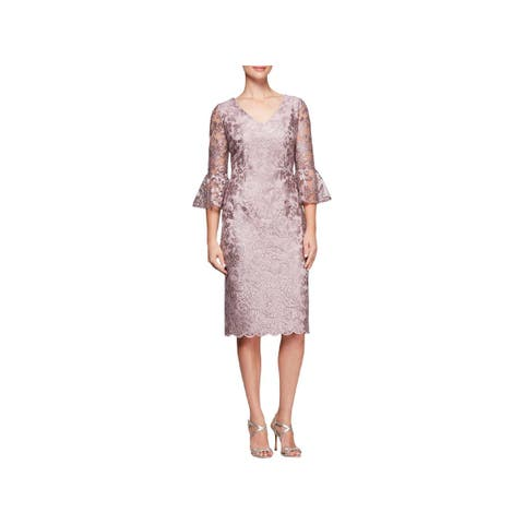 26b0c101088 Alex Evenings Womens Special Occasion Dress Bell Sleeves Knee-Length