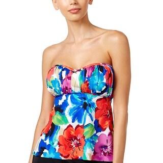 Swim Solutions Womens Sedona Floral Print Bandeau Tankini Top 14 Multi Swimsuit